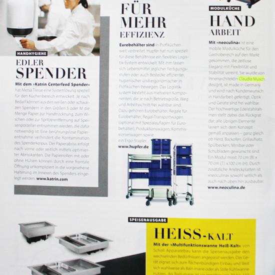 Artikel über die Modulküche neoculina für Gastronomie in der Zeitschrift Tophotel 2016