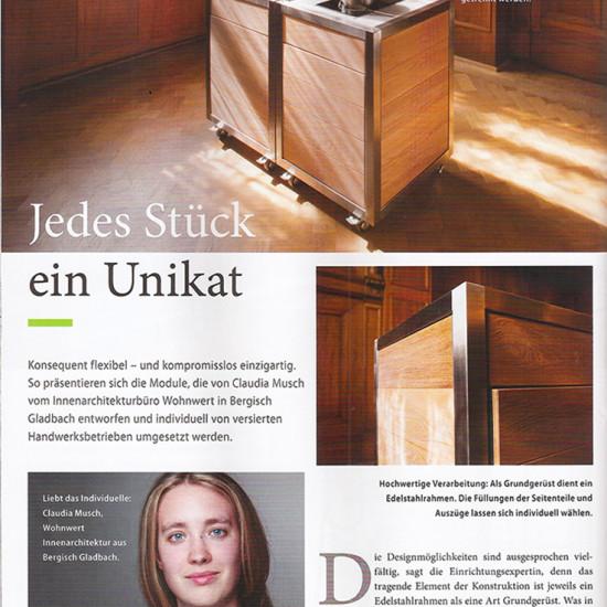 Artikel über die mobile Küche Neoculina in der Zeitung Inwohnen