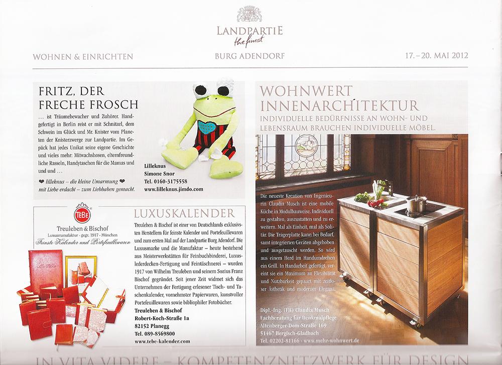 Artikel über die mobile Modulküche Neoculina in der Zeitung Landpartie Burg Adendorf