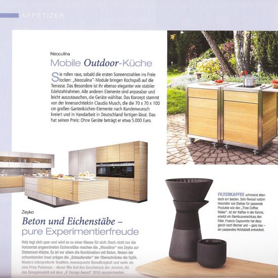 Artikel über die mobile Outdoor-Küche Neoculina von Wohnwert im Magazin Küchenprofi