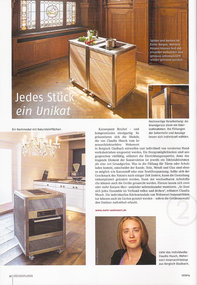 Artikel über die Modulküche neoculina von Wohnwert im Küchenplaner Magazin 2014