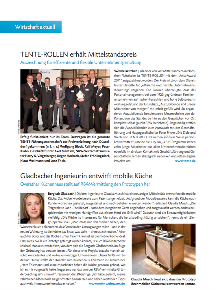 Artikel über die mobile Küche neoculina in RBW Februar 2012