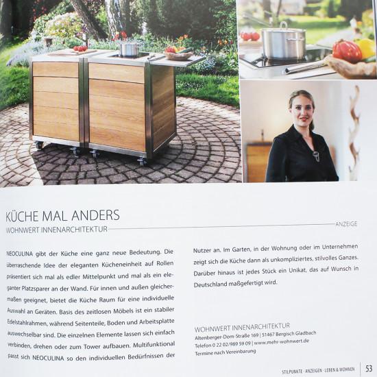 Artikel über die mobile Küche Neoculina von Wohnwert in dem Magazin Stilpunkte