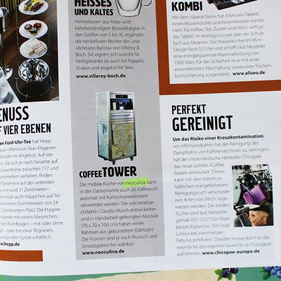 Artikel über die mobile Küche neoculina mit Coffee Tower im Magazin Tophotel
