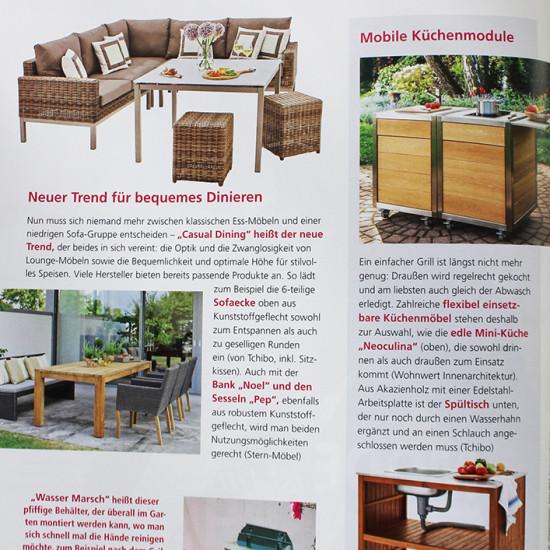 Artikel über das mobile Küchenmodul Neoculina in Mein schöner Garten 05/2016