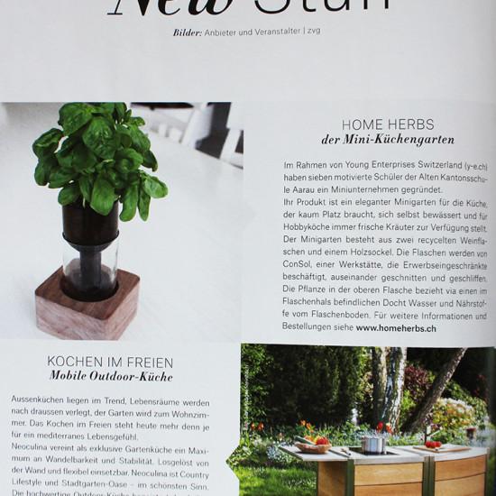 Artikel über die Outdoor Küche neoculina in der Zeitschrift Freude Am Garten 04/2016