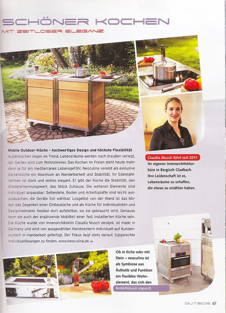 Artikel über die mobile Outdoor Küche Neoculina in der Zeitschrift Outside