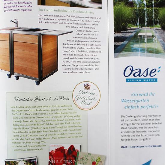 Artikel über die mobile Outdoor-Küche neoculina in der Zeitschrift Wohnen und Garten 05/2016