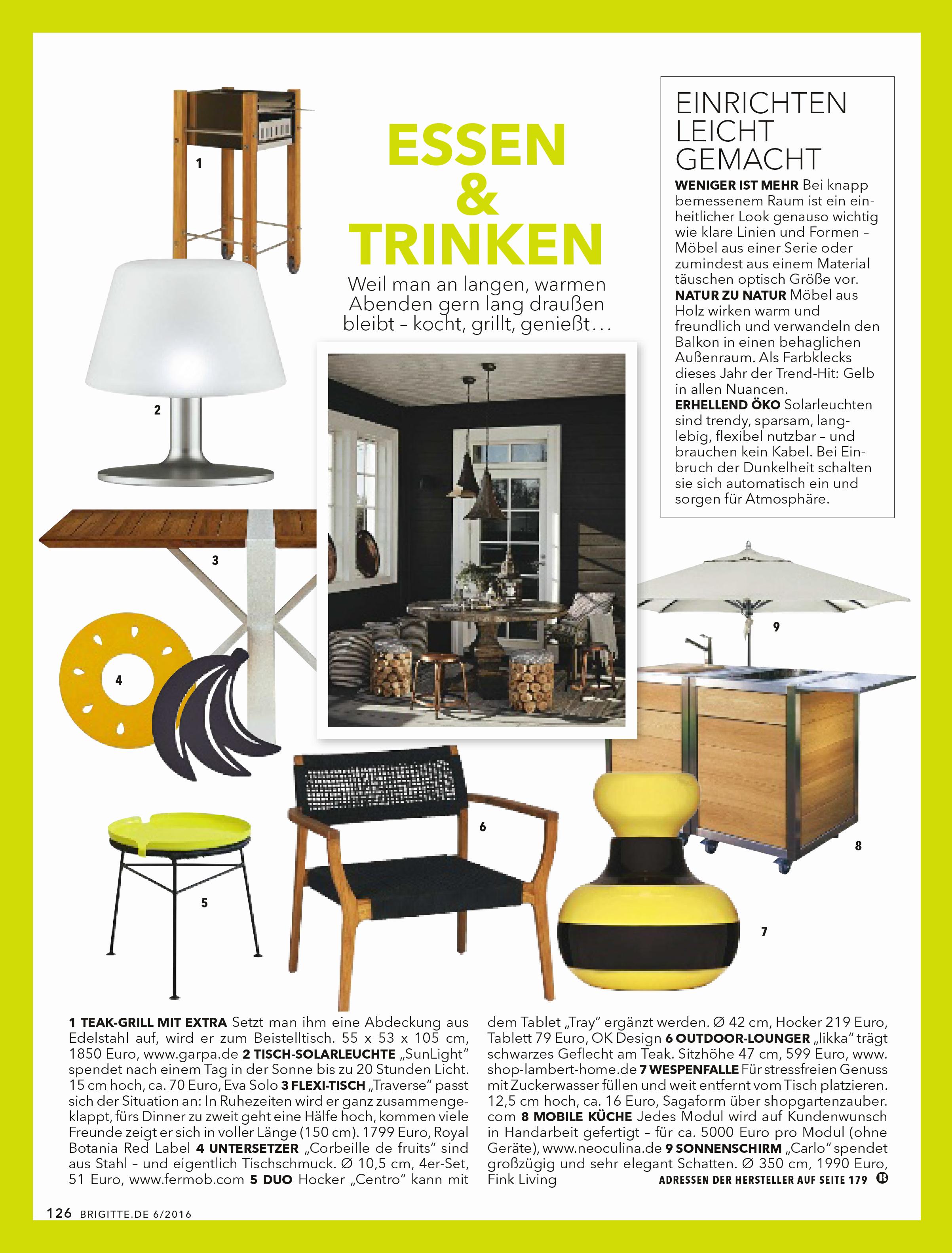 Artikel über das mobile Küchenmodul Neoculina von Wohnwert Innenarchitektur im Magazin Brigitte